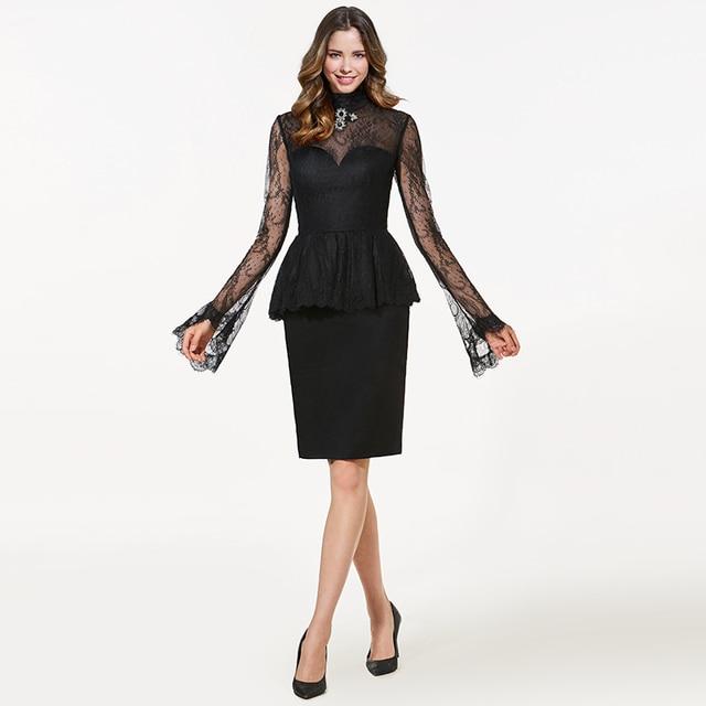 Tanpell high neck short cocktail dress black long sleeves knee ...