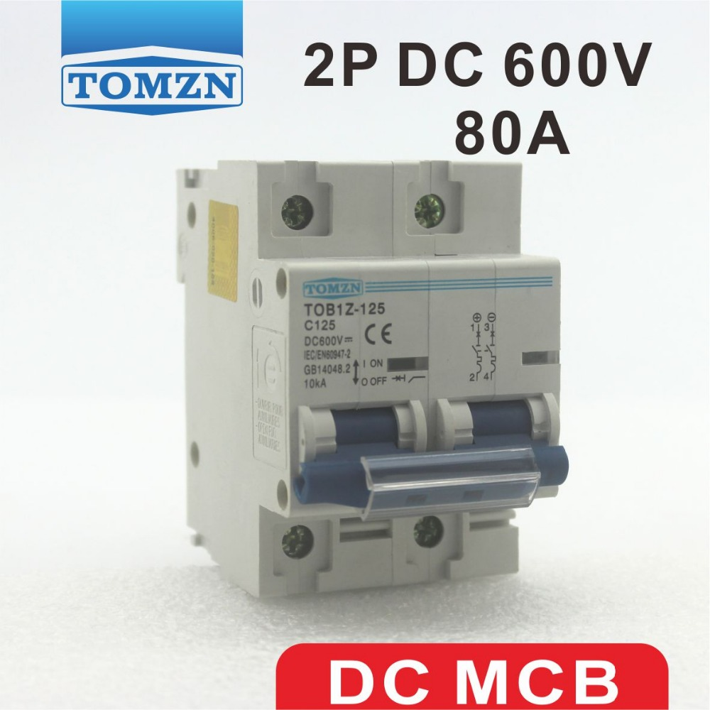 2P 80A DC 600V  Circuit breaker FOR PV System C curve2P 80A DC 600V  Circuit breaker FOR PV System C curve