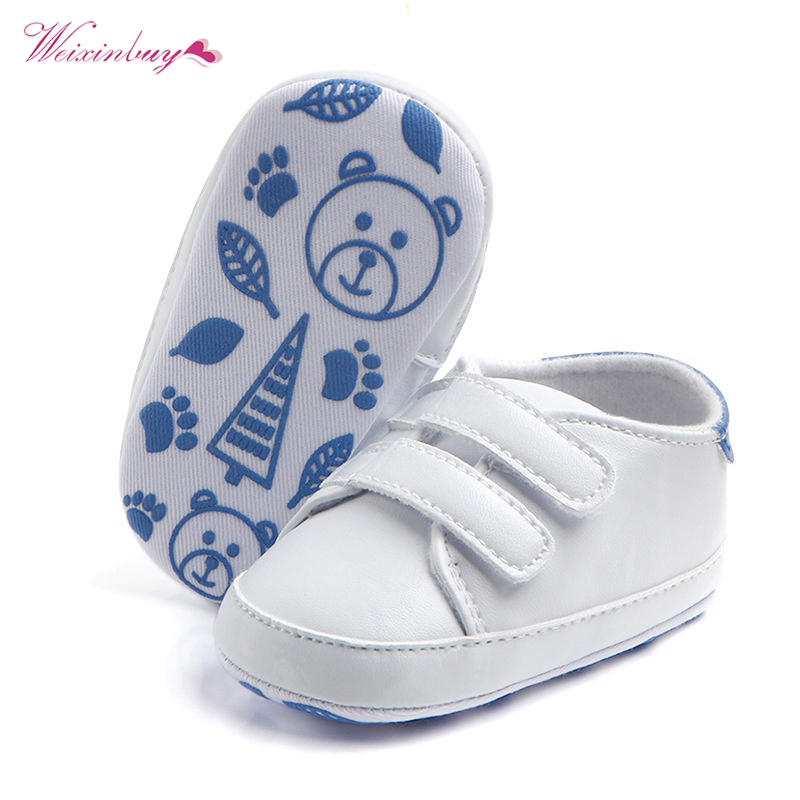 Kids Soft Soled Sports Sneakers PU Leather White Baby Shoes Classic Casual Newborn Boy Girl First Walkers