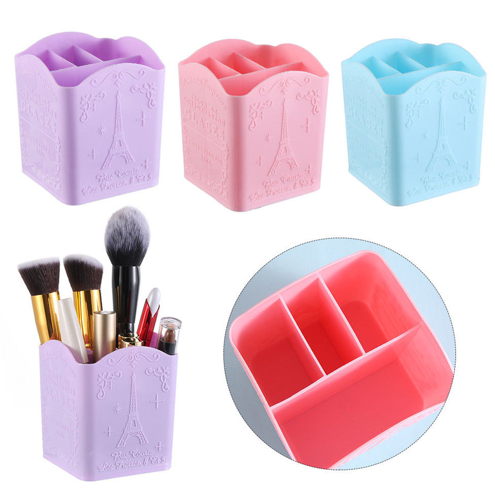 4 Compartments Nail Art Tool Case Cosmetic Organizer Pen Holder Makeup Desk PP Brush Cases Storage Box Container Eiffel Tower