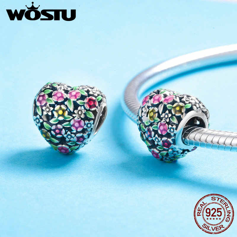 WOSTU אביב קיץ 925 סטרלינג כסף צבעוני פרחי לב קסם fit חרוזים צמיד צמיד מקורי תכשיטים CQC646