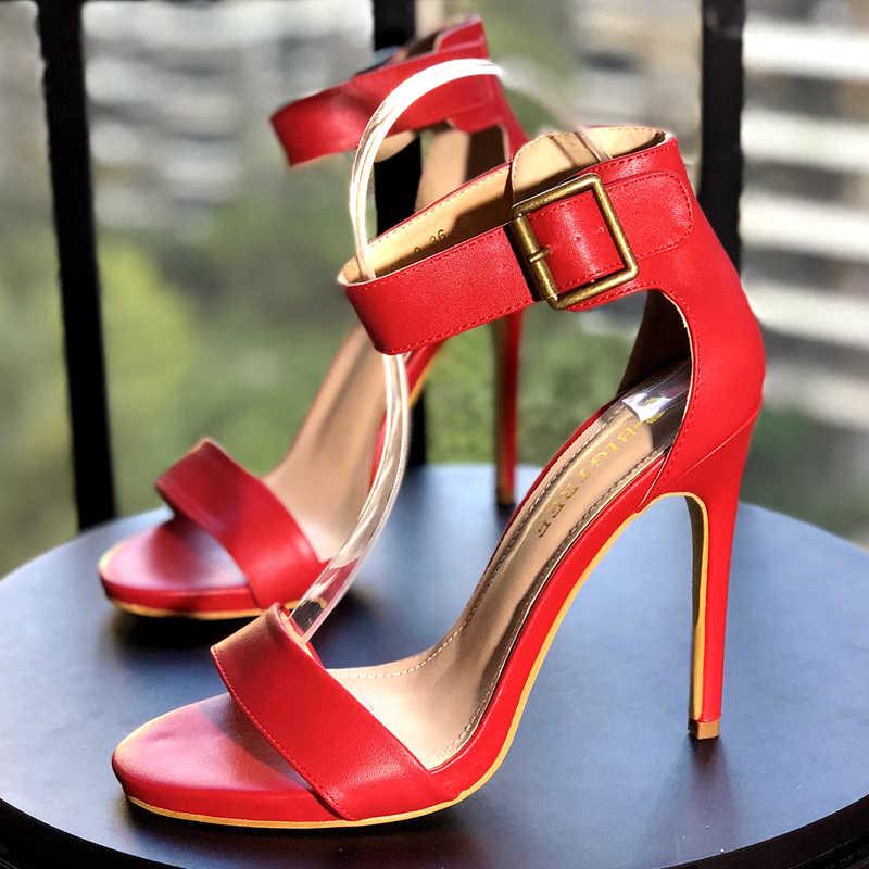 Ayakkabı kadın 2019 yaz yeni açık toe rugan stiletto yüksek topuklu basit kelime toka sandalet çıplak