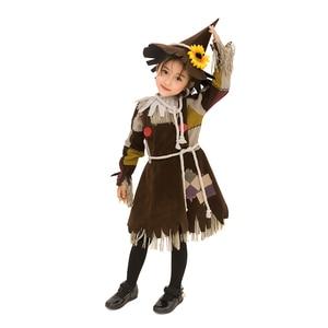 Image 4 - Der Zauberer von OZ Kürbis Patch Scarecrow Kostüm Cosplay Mädchen Kinder Halloween Karneval Cosplay Partei Erstaunliche Phantasie Kleid Up Anzug