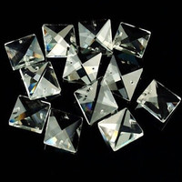 Wholesale 14mm 16mm 18mm 20mm 22mm Can Choose Square Glass Beads In Two Holes Transparent Color