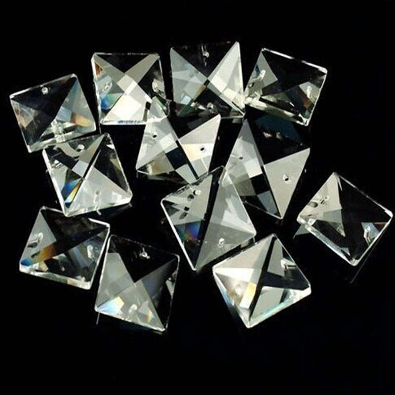 Wholesale 14mm/16mm/18mm/20mm/22mm Can Choose <font><b>Square</b></font> Glass Beads In Two Holes Transparent Color Crystal Prism for Chandelier