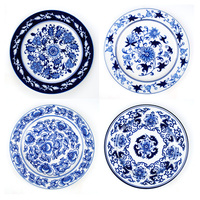 Jingdezhen Ceramics European style Foreign Trade Mediterranean Blue And White Porcelain Wall Decoration Plate Wall Living Room