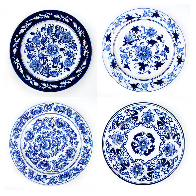 jingdezhen ceramics foreign trade blue and white porcelain wall decoration plate wall - Decorative Wall Plates