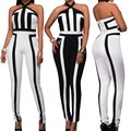 2017 Fashion Womens Off Shoulder Halter Neck Black White Sexy Jumpsuit Casual Ladies Romper Summer Autumn Sleeveless Playsuit