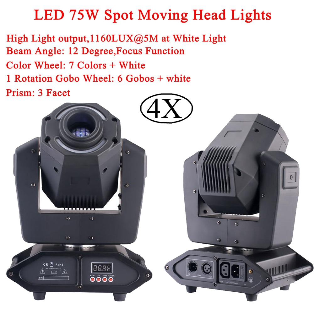 4Pcs/Lot LED Spot 75W Moving Head Light 14X0.2W RGBW LEDs DMX DJ Disco Party Moving Rotating Wash LED Stage Lighting Equipment