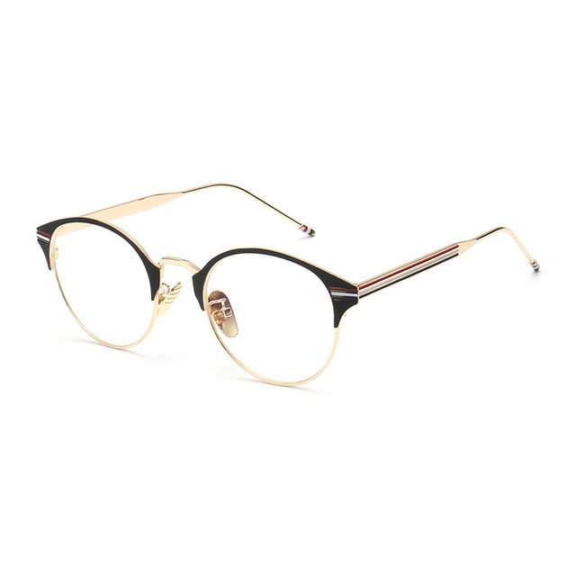 2266c06c16c Brand Designer Half Frame Eye Glasses For Men Women Gold Frames Eyewear  Clear Lens Optical Eyeglass Prescription Retro Round Man