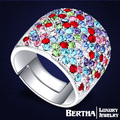Luxury Ring Full Colorful Austrian Crystal from Swarovski Wide Rings For Women Engagement Jewelry