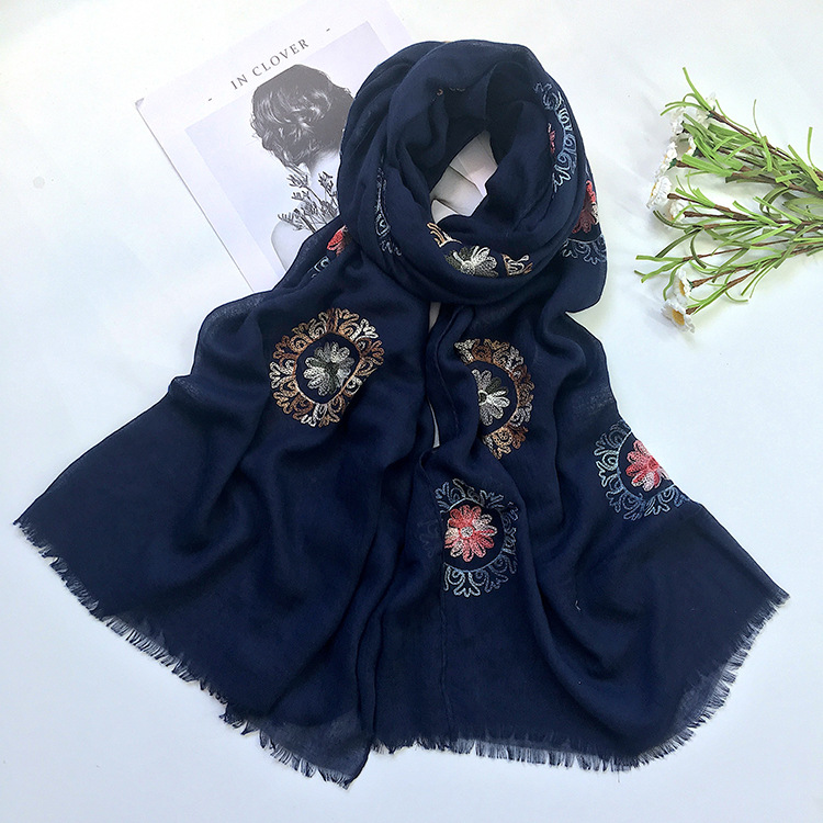 10 pc Scarf women Fashion Autumn Winter Floral Embroidery Wrap ladies Warm Cotton Shawls Scarves Embroidered