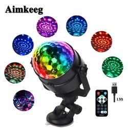 Aimkeeg 5 V USB IR Controle Remoto RGB LED Cristal Mágico Rotating Luz de Palco Disco DJ Luz Do Carro Colorido Mini luz do Estágio Do laser