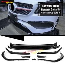 W176 Front Bumper Lip Canards 8 pieces/set Carbon Fiber AMG Style for Mercedes Benz A-Class A180 A200 A250 16+