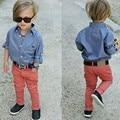 Autumn 2017 children set fashion baby boys clothes set denim shirt +long red pants 2pcs boy clothing sets kids clothes for 3-8T