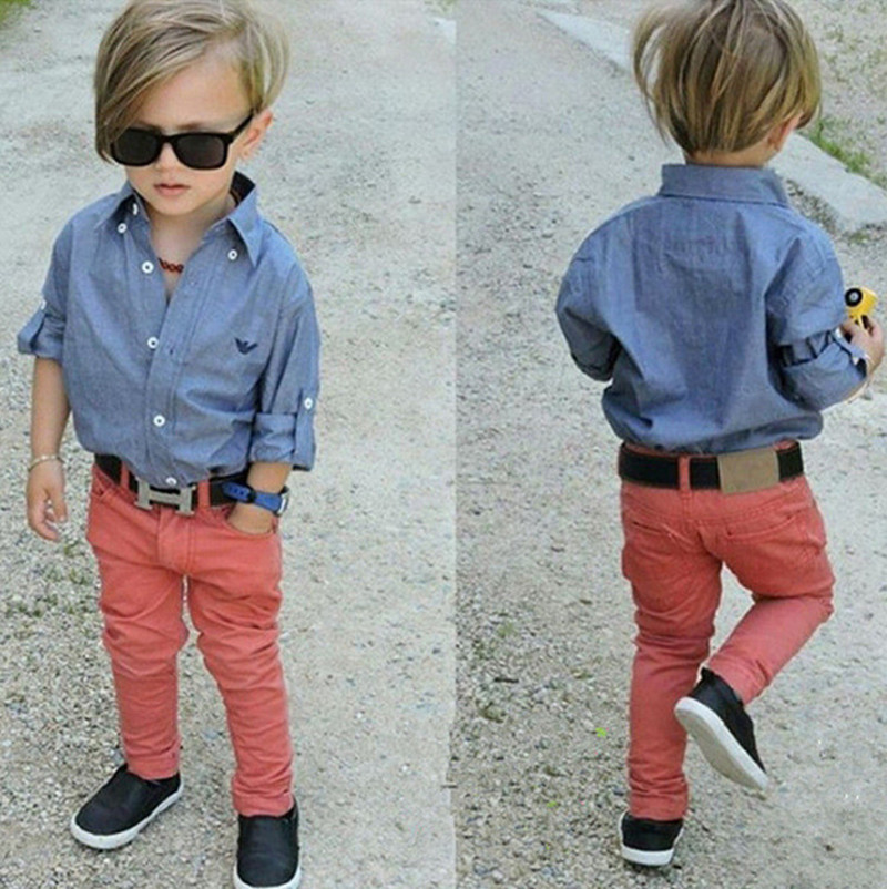 где купить Autumn 2018 children set fashion baby boys clothes set denim shirt +long red pants 2pcs boy clothing sets kids clothes for 3-8T по лучшей цене