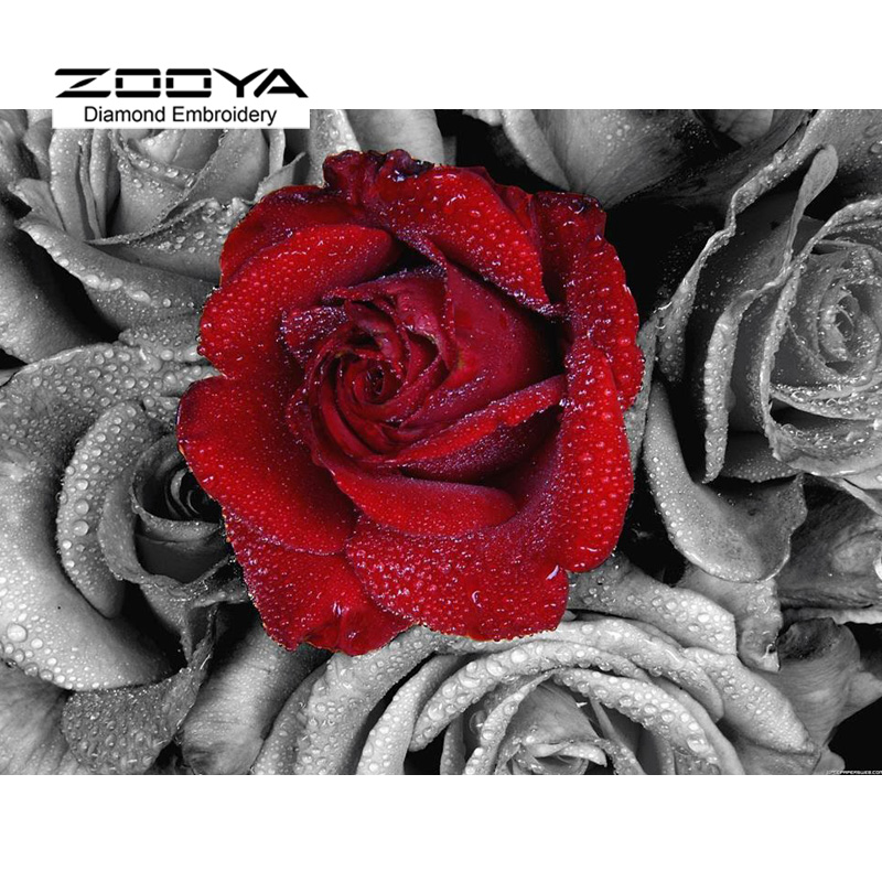 5D DIY Diamond Painting Flower Beautiful Red Rose