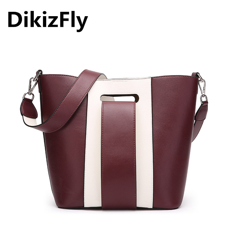New Fashion Panelled Women Messenger Bags Vintage Totes Handbags Luxury Brands Split Leather Shoulder Bags Women Bucket Hand Bag figestin mini top handle handbags for women fashion split leather green cover shoulder bags small totes crossbody hand bag new