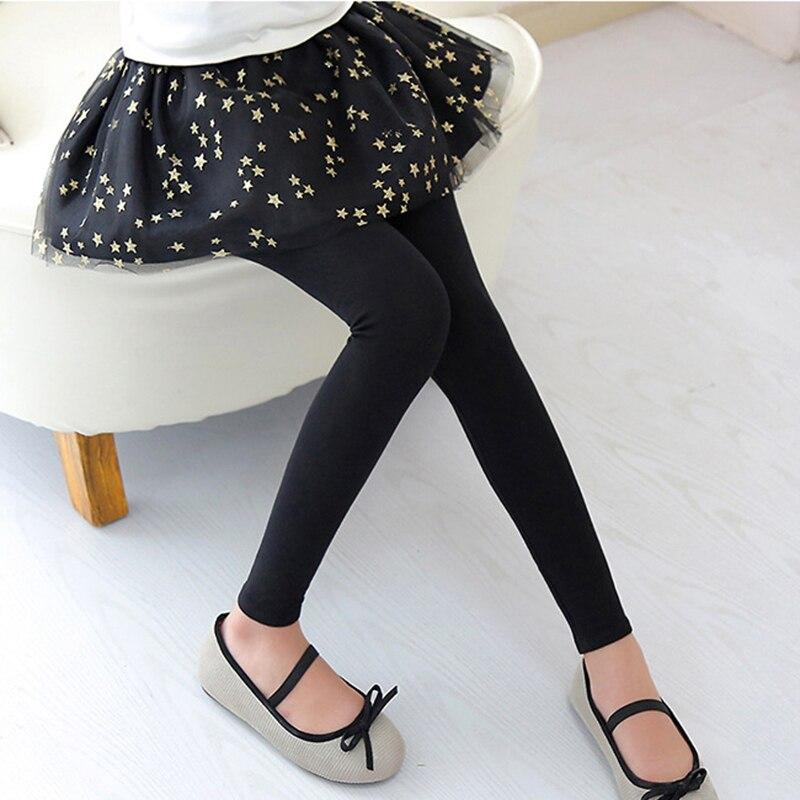 Sequined Stars Girls Legging Skirt-pants Tutu Mesh Golden Star Big Girl Elastic Leggings Children Culottes For 3-12 Years Kids 6