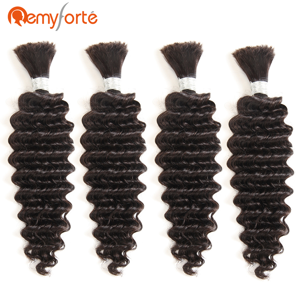 Remy Forte Hair Natural Color Bulk Human Hair For Braiding 4 Bundles Deal No Weft Deep Wave Remy Brazilian Bulk Braiding Hair