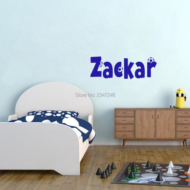 Personalized Boys Names Soccer Wall Sticker Football Sports Wall Decals  Vinyl Kids Room Decoration