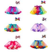 Mini Skirts Petticoat Girl Clothing Rainbow Multilayer Princess Children Summer Bowknot