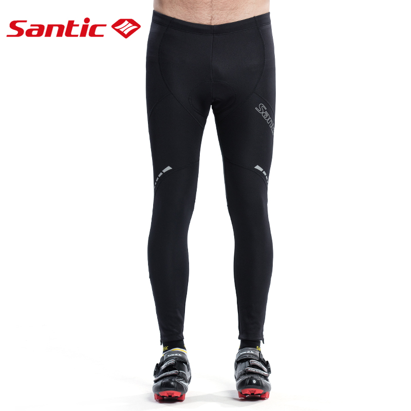 Santic Winter Men Cycling Pants Long Mountain Bike Pants Reflective Downhill Mtb Thermal Bicycle Pants Padded Cycling Clothing santic cycling pants road mountain bicycle bike pants men winter fleece warm bib pants long mtb trousers downhill clothing 2017