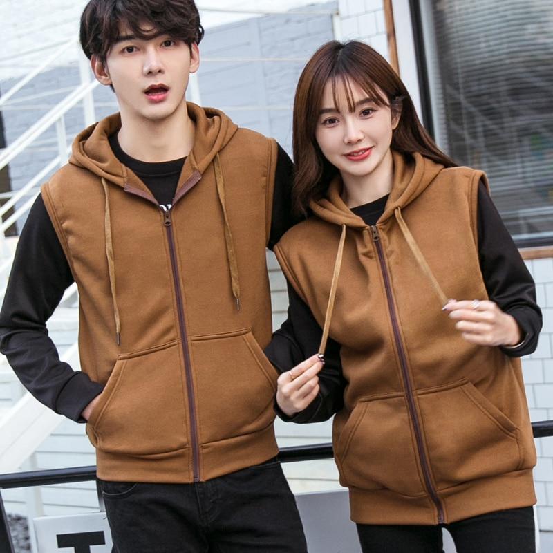 2019 Men Hoodie&Sweatshirts Mens Casual Zipper Sleeveless Hoodies Male Hooded Cardigan Couple Loose Vest Brown Hoodie