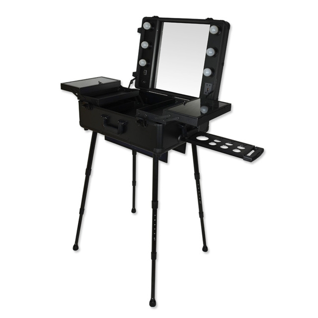 High Quality Professional Makeup Trolley Mount Dressing Table Large Belt  Bulb Cosmetic Box With Mirror
