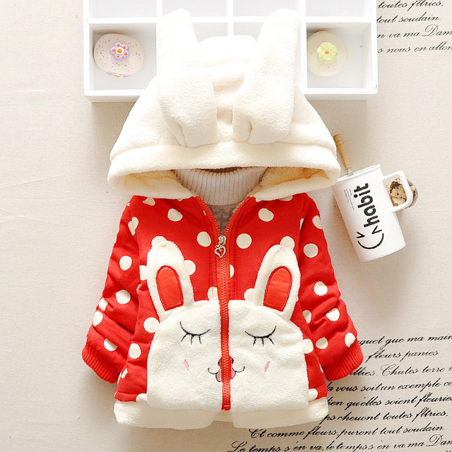2015 new Winter baby-snowsuit hooded thickness dot print baby girl jacket rabbit A080