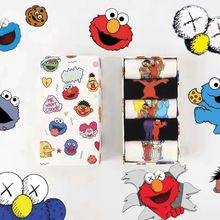 Ins Style Funny Women Short Set Socks 5 Pairs Cartoon Patterned Sesame Street Cotton Ankle Breathable Female Harajuku Cool Sox