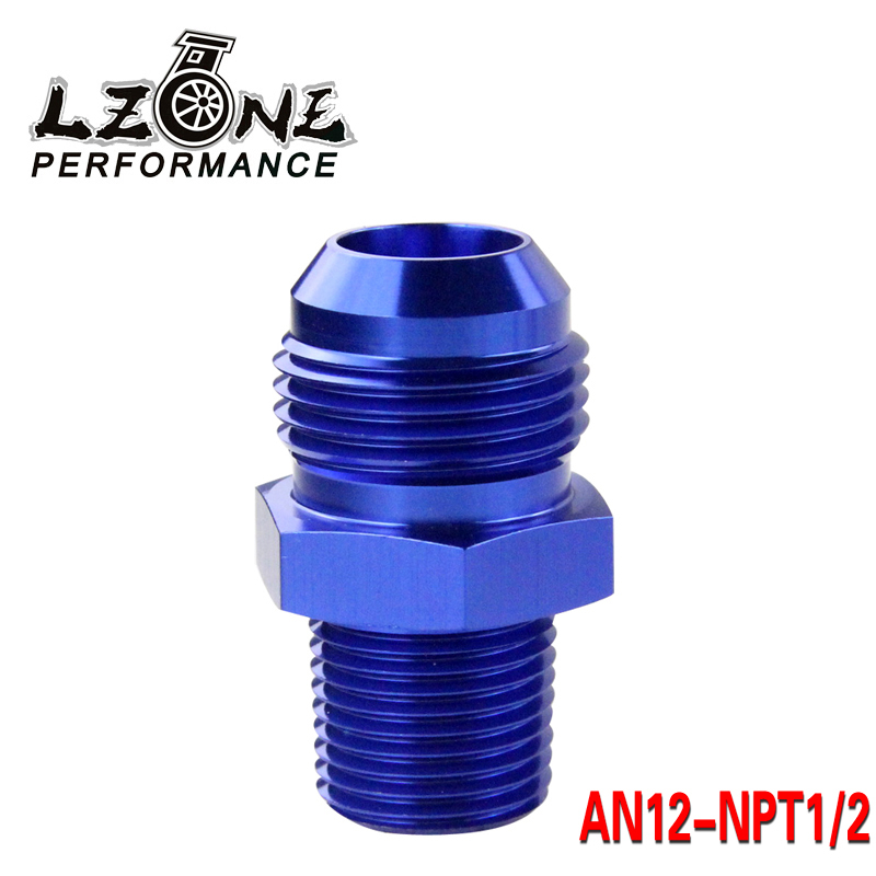 LZONE - (AN12-NPT1/2) AN12 to 1/2 NPT Straight Adapter Flare Fitting auto hose fitting Male JR-SL816-10-12-011