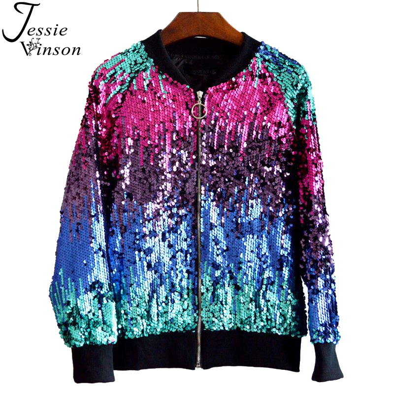 Jessie Vinson Gradient Color Sequins Zipper   Jacket   Coat Casual Bomber   Jacket   Autumn Winter Casual Outerwear   Basic     Jacket   Women