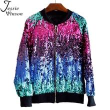 Jessie Vinson Gradient Color Sequins Zipper Jacket Coat Casual Bomber J