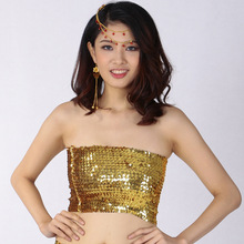 onepro Sexy Gold Strapless Dressy Crop Top Women Shiny Stretch Party  Clubwear Sequin. US  4.99   piece Free Shipping d719335904c3