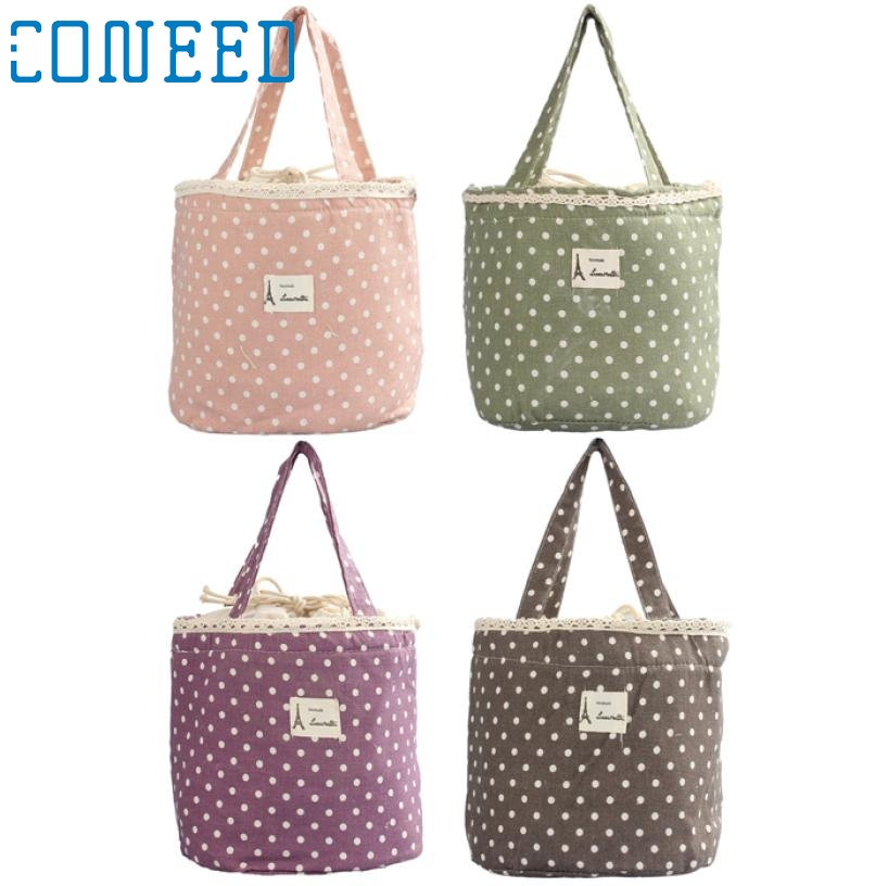 Linen Cotton Thermal Insulated Lunch bag Tote Cooler Bag Bento Pouch Lunch Container Levert Dropship mar3