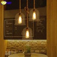 Фумат прозрачный стеклянный кулон свет с пеньковой веревкой Винтаж кафе бар части для светильников скандинавские гостиной лампа для столо
