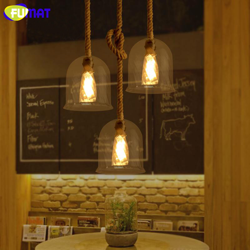 FUMAT Clear Glass Pendant Light with Hemp Rope Vintage Cafe Bar Suspension Light Fixture Nordic Living Room Dinning Room Lamp