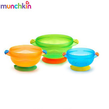 Munchkin 3Pcs Suction Bowl Preventing Food From Spilling Floor Easily Release Pull Ring Helps Baby Feed Himself Three Color