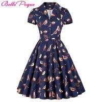 Belle Poque Women Big Swing Dress 2018 Casual Retro Robe Vintage 50s 60s Bird Print Summer Dresses Womens Clothing Elegant Tunic