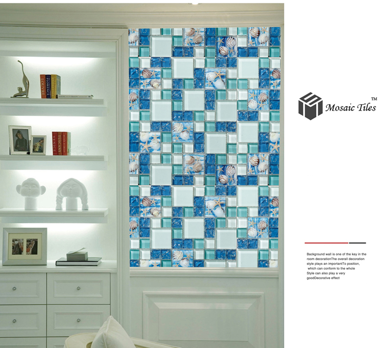 Glass Mosaic Tile Beach Style Sea Blue Glass Tile Mother of Pearl ...