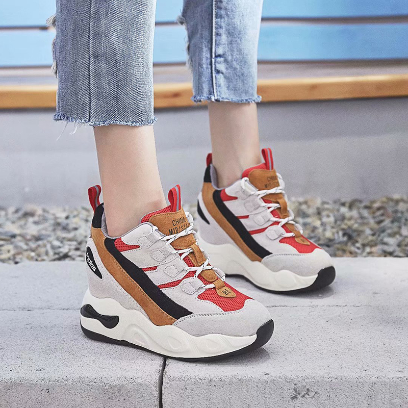 Dumoo Sneakers Women Height Increasing Shoes Ins Hot High Heel 7.5cm Leisure Platform Wedge Casual Lady Shoes zapatillas mujer