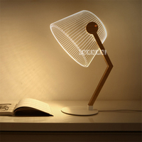 New Innovative 3D Vision Light Learning Reading Table Lamp Wooden Stand Table Lamp Acrylic Board Creative