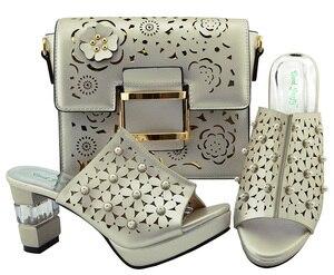 Image 2 - Zapato italiano y bolsa Conjunto de zapatos y bolsos africanos de tacón alto, zapato con bolsa italiana, superventas, a juego, YM007