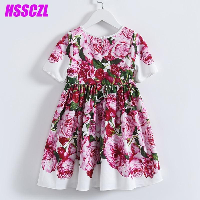 2017 new summer short sleeve girl dress brand princess dress printed children's polyester+cotton floral print