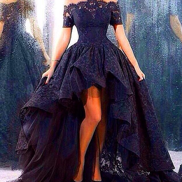 Sexy Vestidos De Festa Lace Cocktail Dresses Black Lace Tiered Special Dresses Short Sleeves Hi-Lo Party Gowns D11