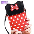 2016 Lovely Mickey Dot Bow Colors Women Mobile Phone Bags Fashion Small Change Purse Female Shoulder Bags Mini Messenger Bag