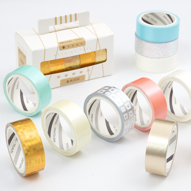 5 Set Lot Gold Silver Glitter Masking Tape Color Paper Washi Tapes Stickers Fancy