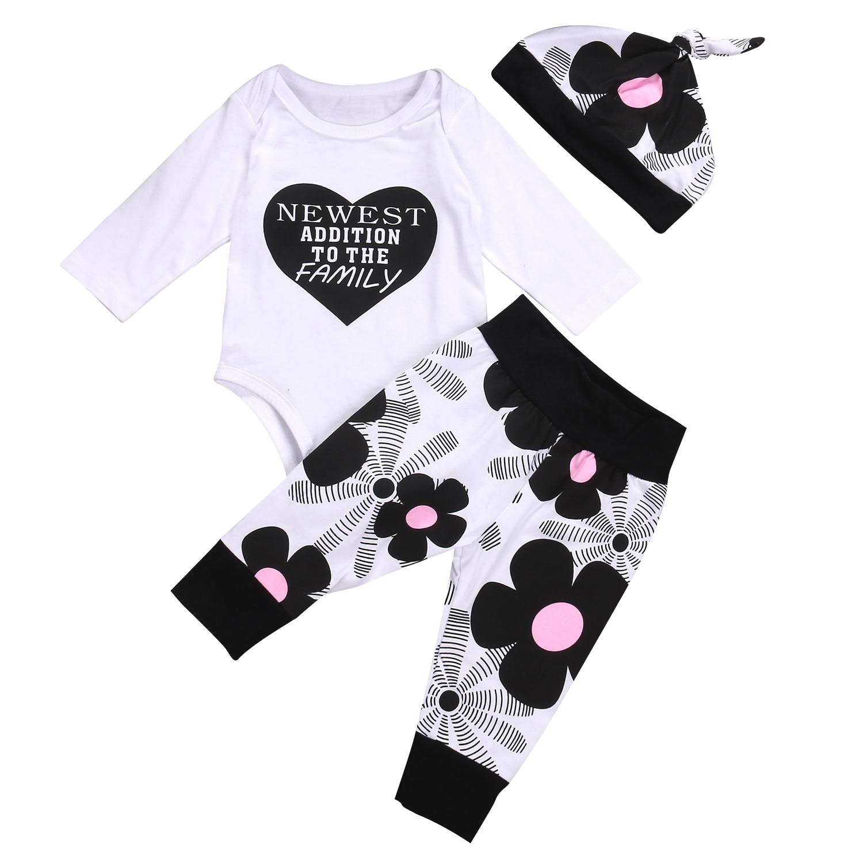 Babies 3pcs Letter Heart Floral Clothing Set Newborn Infant Baby Boy Girl Cotton Top Bodysuit Flower Pants Outfits Bebes Clothes