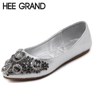 HEE GRAND Crystal Ballet Flats 2017 New Bling Loafers Silver Casual Shoes Woman Slip On Pointed